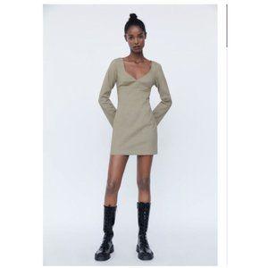 ZARA SWEETHEART NECKLINE DRESS Small Tan Brown